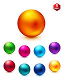 Shiny Colored Spheres on White Background Stock Photography