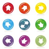 Shiny colorful button set with white arrows Stock Image