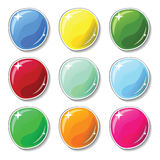 Shiny colorful buttons with glass surface effect. Blank  buttons set for web design or game graphic. Stock Photography