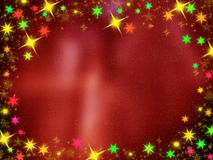 Shiny colorful Christmas background. On red Stock Photos