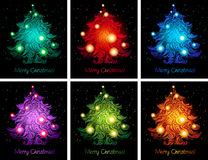 Shiny colorful christmas backgrounds. Shiny colorful christmas trees backgrounds collection in blue, red, green, orange, purple colors Royalty Free Stock Photos
