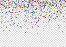 Shiny colorful festive tinsel on transparent backgroun. D. Falling glowing confetti. Decoration for carnival, fiesta, birthday party, Christmas, New Year stock illustration
