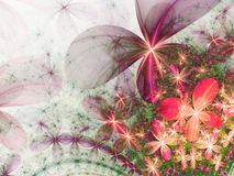 Shiny colorful fractal flowers Stock Photos