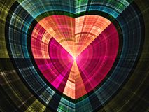 Shiny colorful fractal heart. Digital artwork for creative graphic design Stock Images