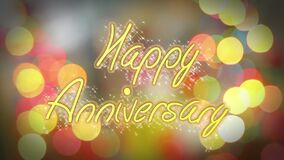 Shiny colorful Happy Anniversary congratulation message, celebration background. Stock footage stock video footage