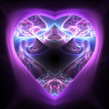Shiny colorful heart on dark background. Fractal art for valentine`s day Royalty Free Stock Photos