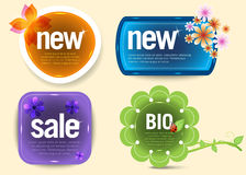 Shiny colorful labels. Four shiny colorful labels, illustration Stock Photography