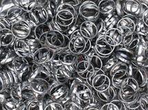 Shiny colorful pretty metal rings Stock Photo