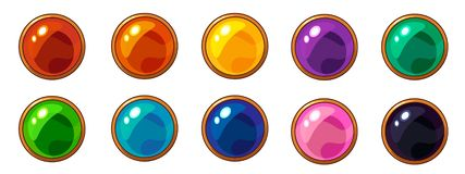 Shiny colorful round gem with golden frame set for mobile game interface design. royalty free illustration