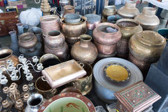 Shiny Copper Coffee Pots stock photos