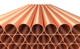 Shiny copper pipes in rows  on white. Heavy metallurgical industry production and non-ferrous industrial products creative abstract illustration: many stainless Royalty Free Stock Photos