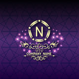 Shiny corporate style card arabesque with pattern. Corporate style ornamental card arabesque with pattern, logo design, decorated shiny. Vector illustration Stock Photos