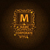 Shiny corporate style card with pattern. Corporate style ornamental card with pattern, logo floral design, decorated shiny. Vector illustration Royalty Free Stock Images