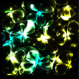 Shiny cosmic flowers background Stock Images