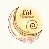 Shiny crescent moon for Eid festival celebration. Royalty Free Stock Images