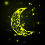 Shiny crescent moon  on green background Royalty Free Stock Images