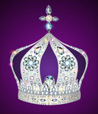 Shiny crown of silver on purple background Royalty Free Stock Images