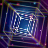 Shiny cube with color aberrations in space Stock Photo