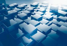 Shiny cube pattern abstract background. 3d render of shiny cube for abstract background Stock Photo