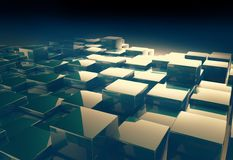 Shiny cube pattern abstract background. 3d render of shiny cube for abstract background Stock Image