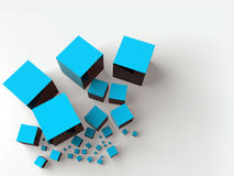 Shiny cubes. Abstract background made with some shiny cubes in blue Royalty Free Stock Images