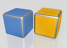 Shiny cubes. 3d design elements of one blue and one yellow cubes with metal frame Royalty Free Stock Photo
