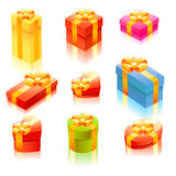 Shiny cute gift box set Royalty Free Stock Photos
