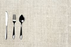 Shiny cutlery on clean background top view shot. stock photography