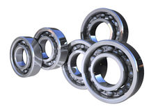 Shiny 3d ball bearings rolling Stock Photos