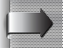 Shiny 3d bent chrome metal arrow on steel plate with holes. This vector illustration of bent metal arrow on metallic plate is suitable for industrial or gaming Royalty Free Stock Images