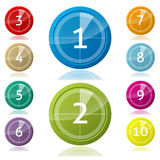 Shiny 3d buttons with countdown Stock Photos