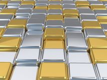 Shiny 3d mosaic,silver and gold surfaces. Stock Photography