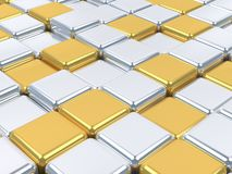 Shiny 3d mosaic,silver and gold surfaces. Royalty Free Stock Photos