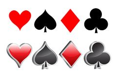 Shiny 3D playing card suite vector illustration Stock Photos