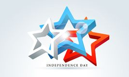 Shiny 3D stars for 4th july, Independence day. 3D Stars in American Flag colors for 4th of July, Independence Day celebration royalty free illustration