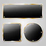Shiny dark glass frames with golden elements Royalty Free Stock Photography