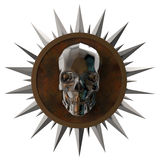Shiny dark metal skull on rusty plate with spikes around,isolated white, post-apocalyptic raiders crest. render. Shiny dark metal skull on rusty metal plate with stock photography