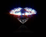 Shiny Diamond. A beautiful and big diamond on a black background Stock Photo