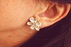 Shiny diamond earrings Stock Photography