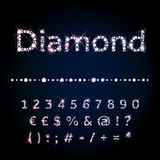 Shiny diamond font set numbers and special symbols royalty free illustration