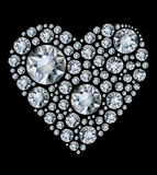 Shiny diamond heart on black background Royalty Free Stock Photography