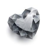 Shiny  diamond heart shape with shadow on Stock Images