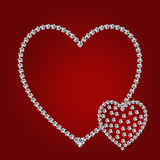Shiny diamond hearts. Vector shiny diamond hearts on red background Vector Illustration