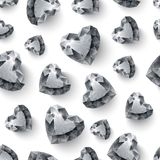 Shiny diamond hearts on white background seamless Stock Images