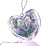 Shiny diamond pendant heart greeting card Stock Photos