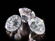 Shiny diamonds on black background royalty free illustration