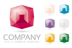 Shiny Diamonds and Jewels Logo Template Royalty Free Stock Photo