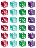 Shiny dice. Shiny glass dice all number combinations isolated on white Stock Photo