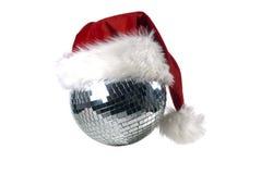 Shiny disco ball. With christmas hat Stock Image