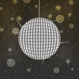 Shiny disco ball on abstract bokeh background Royalty Free Stock Photos
